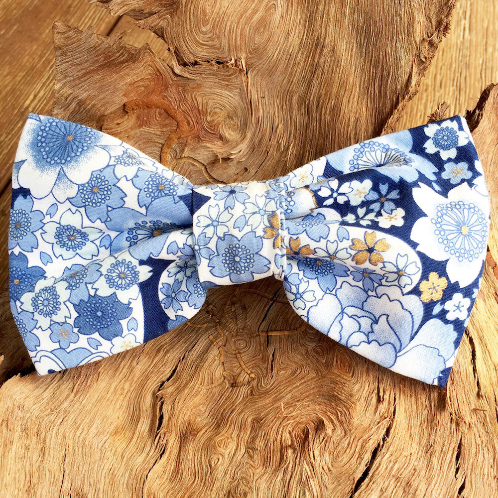"Handmade Dog Bow Tie, ""Blue Floral"""