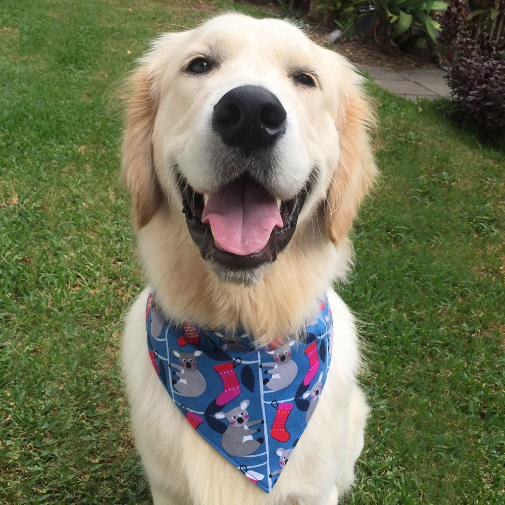 "Xmas Dog Tie On Bandana, ""Blue Koalas"""