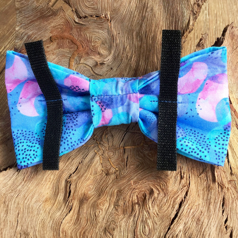 "Handmade Dog Bow Tie, ""Blue/Pink Abstract"""