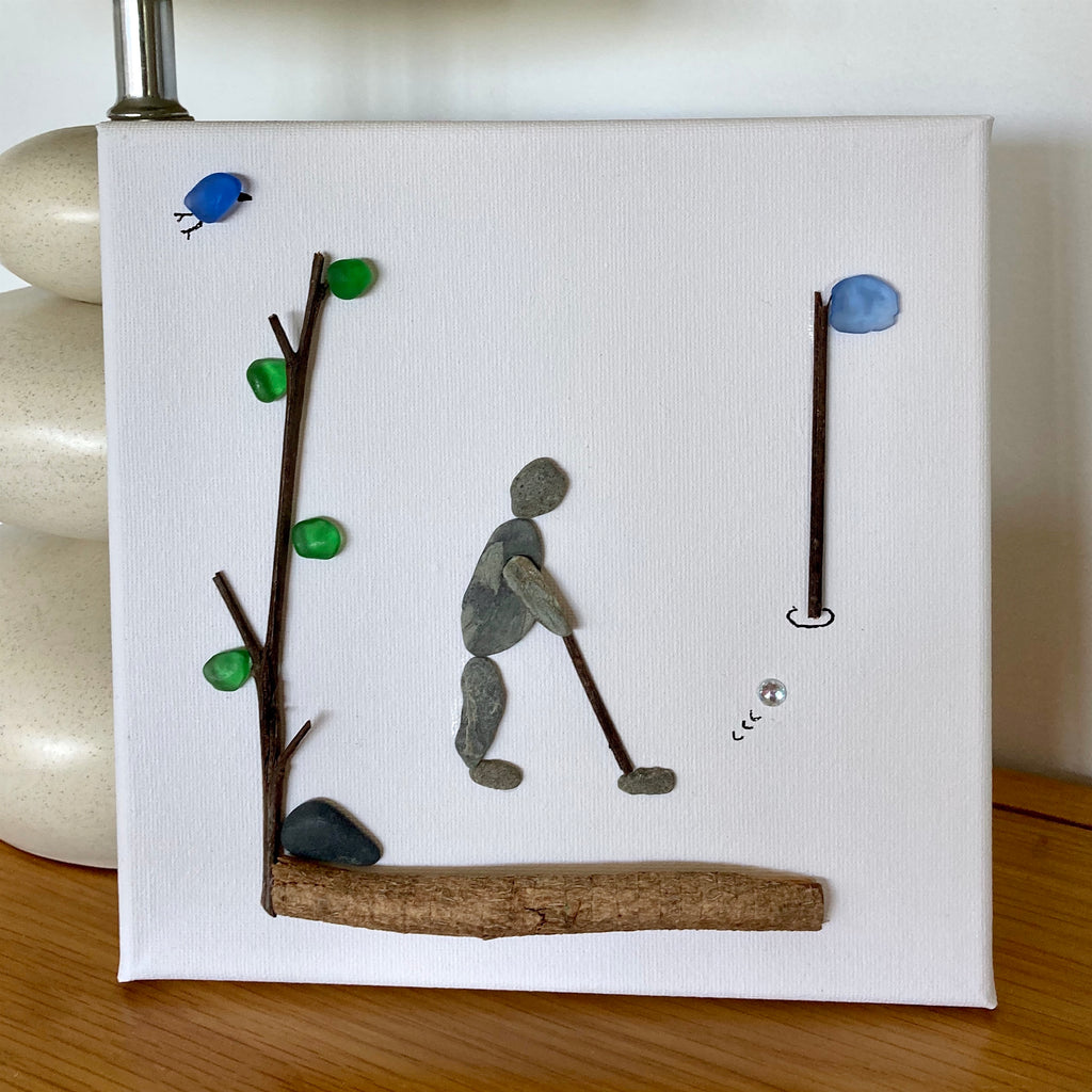 "Pebble Art and Sea Glass Square Canvas Picture, ""Dad Playing Golf"""