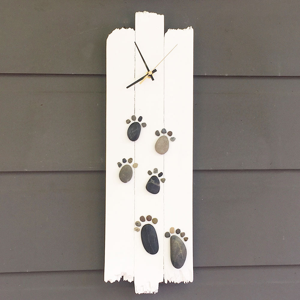 "51cm x 16cm Pebble ""Feet & Paw Prints"" Clock, Handmade, Recycled Materials"