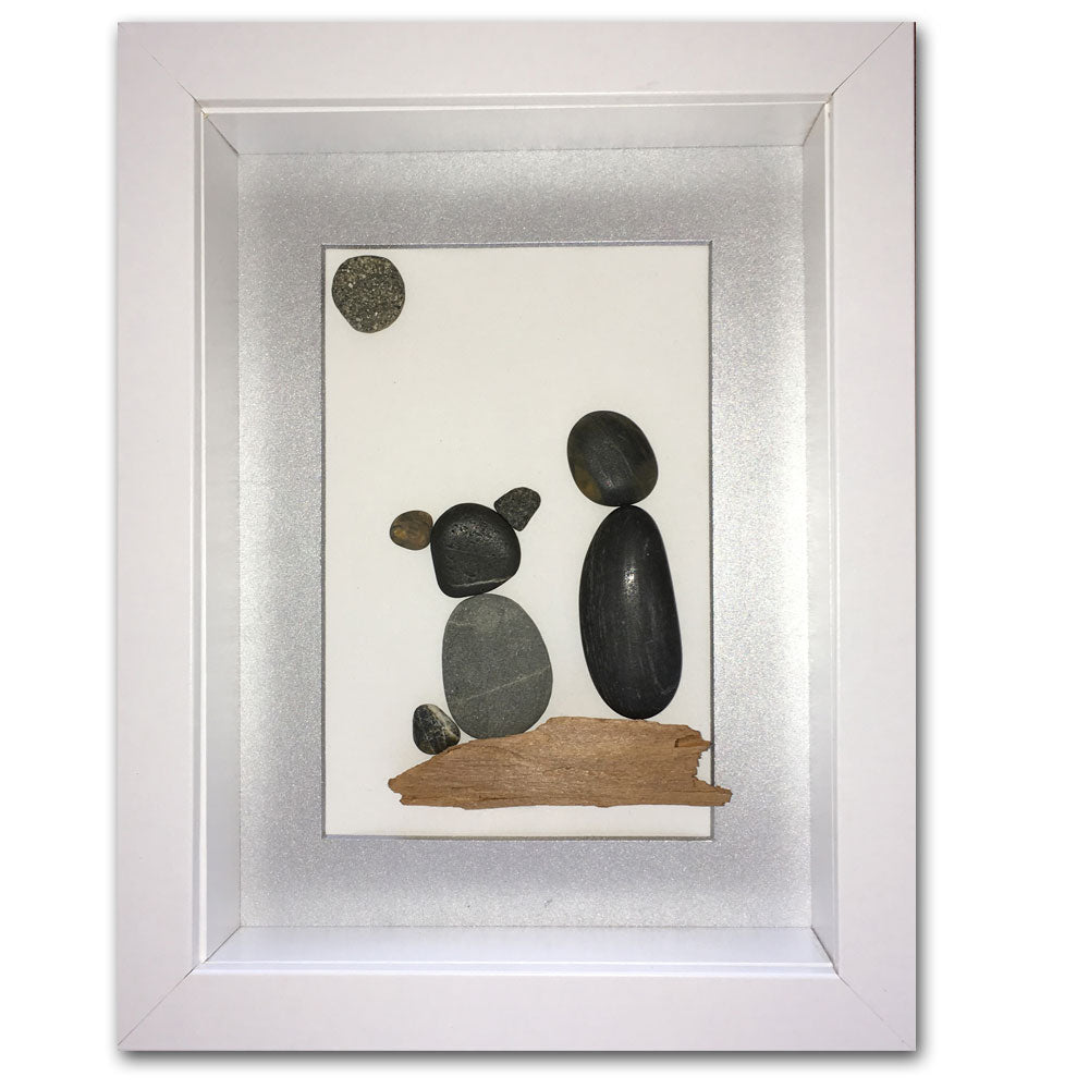 "Framed Pebble Art, ""A Boy with his Dog"""
