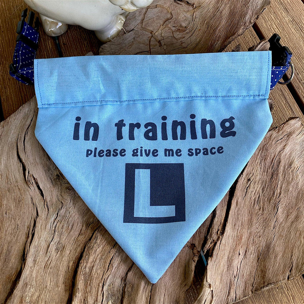 "Over the Collar Bandana ""IN TRAINING Please Give Me Space"" - 4 Fabric Options"