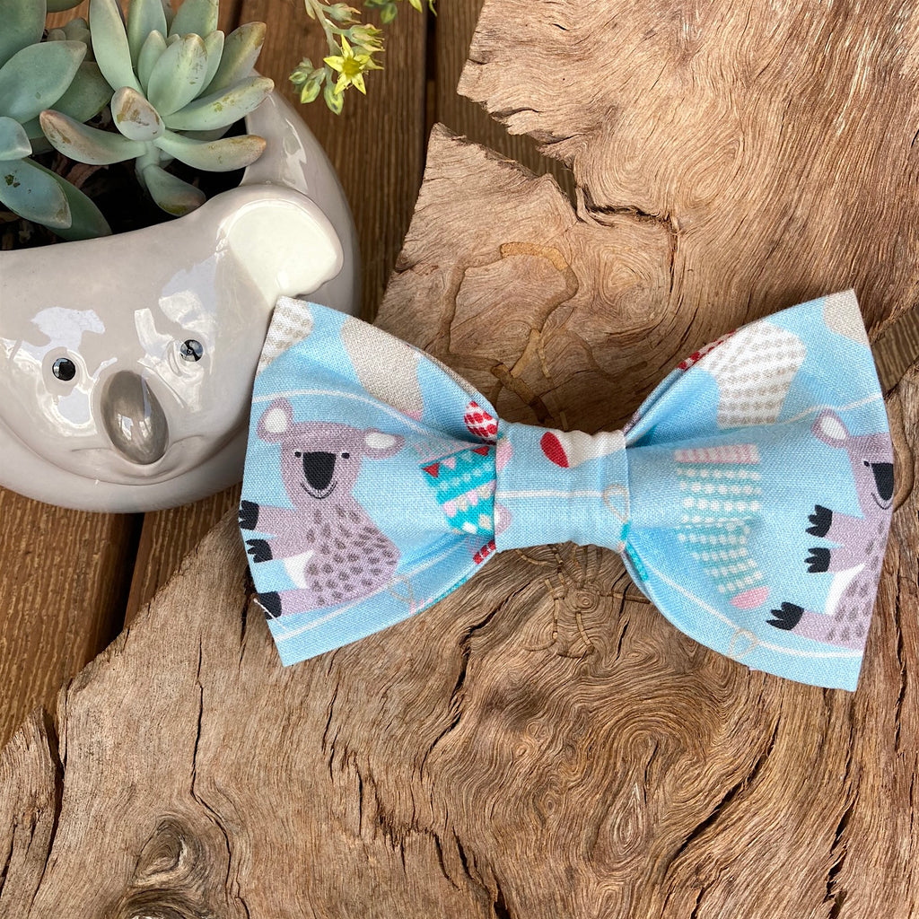 "Xmas Dog Bow Tie, ""KOALAS & STOCKINGS"""
