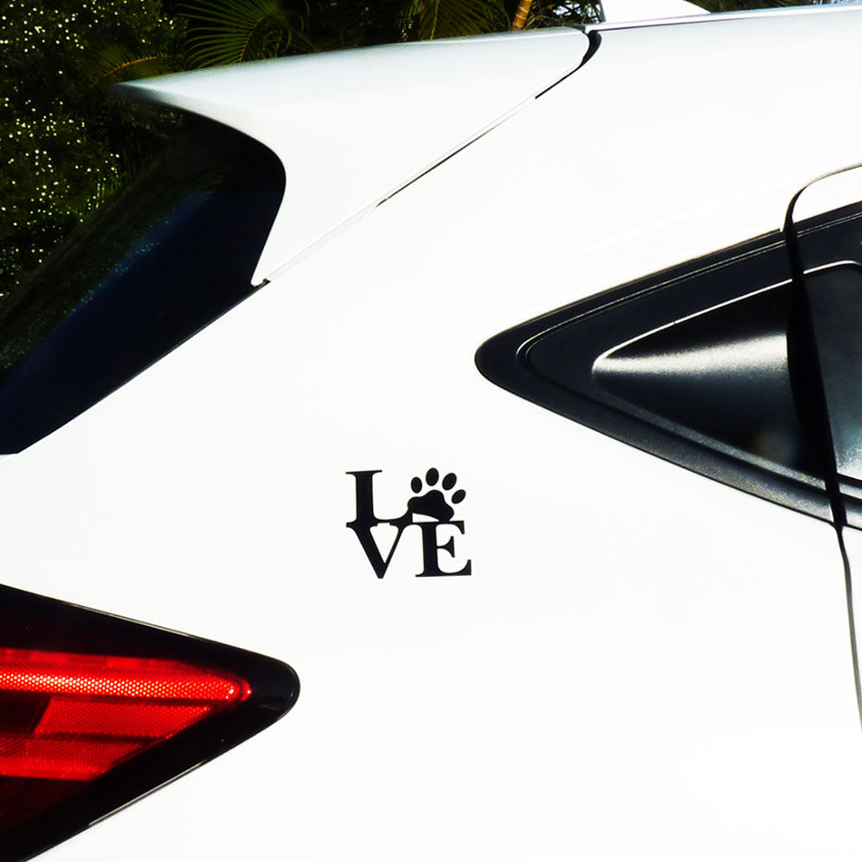 LOVE with Paw Print Car Sticker for Dog Lovers - Black