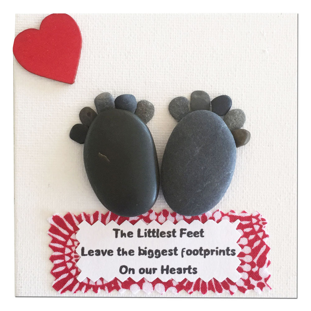 "Mini 4 inch Square Canvas Pebble Art ""The Littlest Feet Leave the Biggest Footprints on our Hearts"""