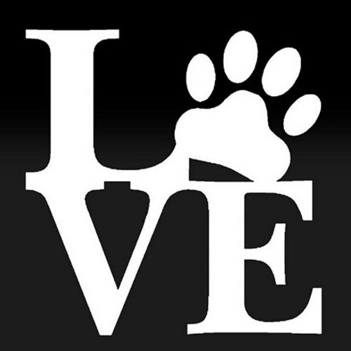 LOVE with Paw Print Car Sticker for Dog Lovers - Metallic White