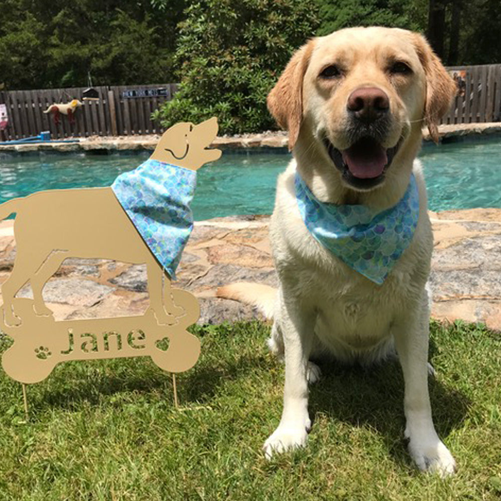 "Handmade Dog Tie On Bandana, Aqua Shades ""Mermaid Scales"""