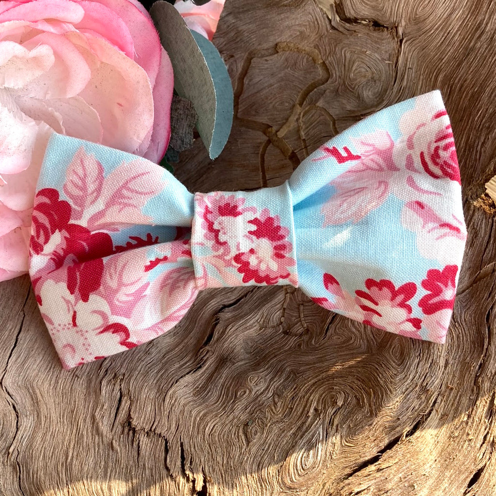 "Handmade Dog Bow Tie, ""Pale Blue Flowers"""
