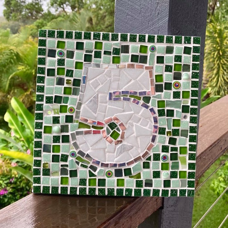 Custom Made Mosaic House Number, 1 or 2 Digits - 20cm SQUARE