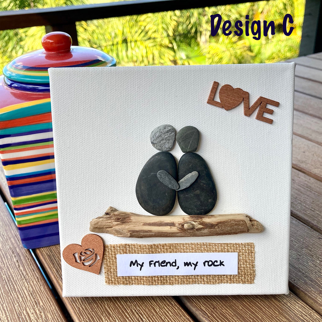 "Canvas Pebble & Driftwood Art, ""My Friend, My Rock "" - 4 Design Options"