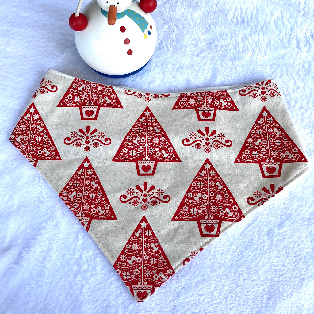 "Xmas Dog Bandana, Natural/Red ""Partridge in a Pear Tree"""
