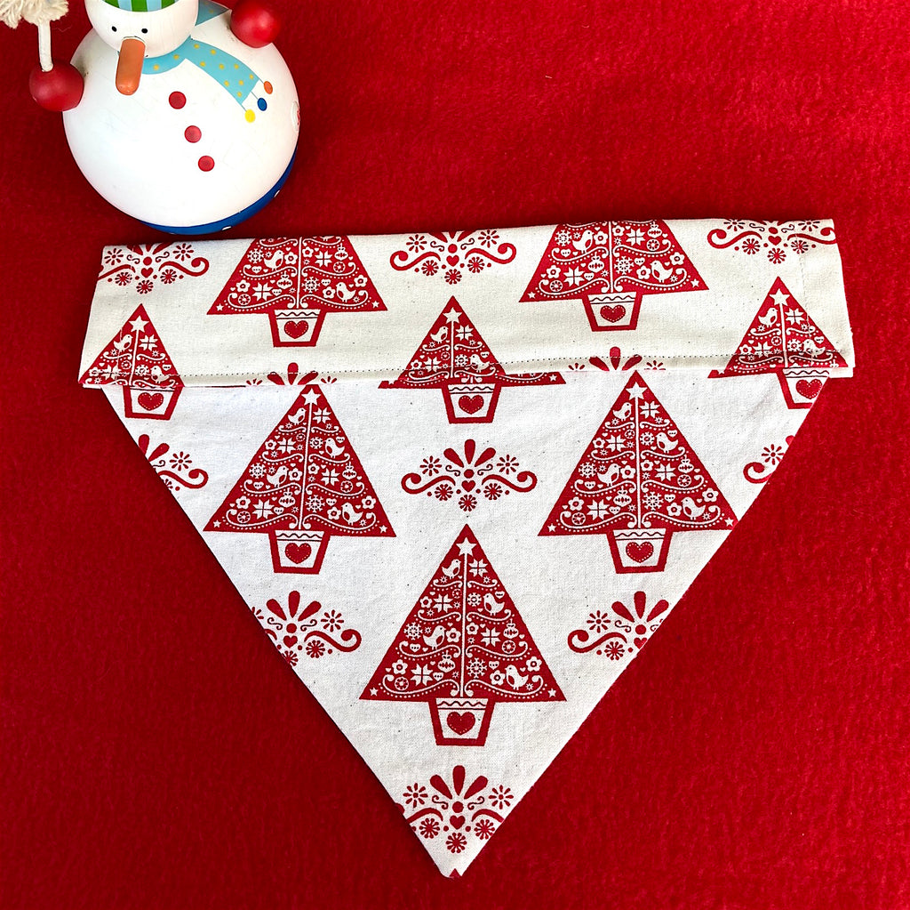 Xmas Over the Collar Handmade Dog Bandana - Natural/Red Partridge in a Pear Tree