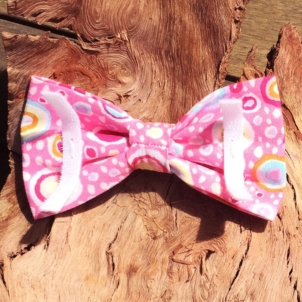 "Handmade Dog Bow Tie, ""Pink Abstract"""