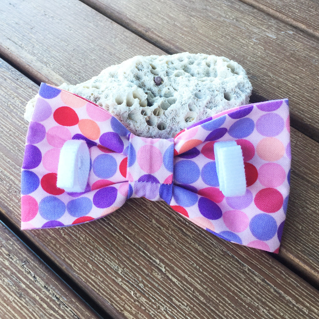 "Handmade Dog Bow Tie, ""Pink/Purple/Red Dots"""