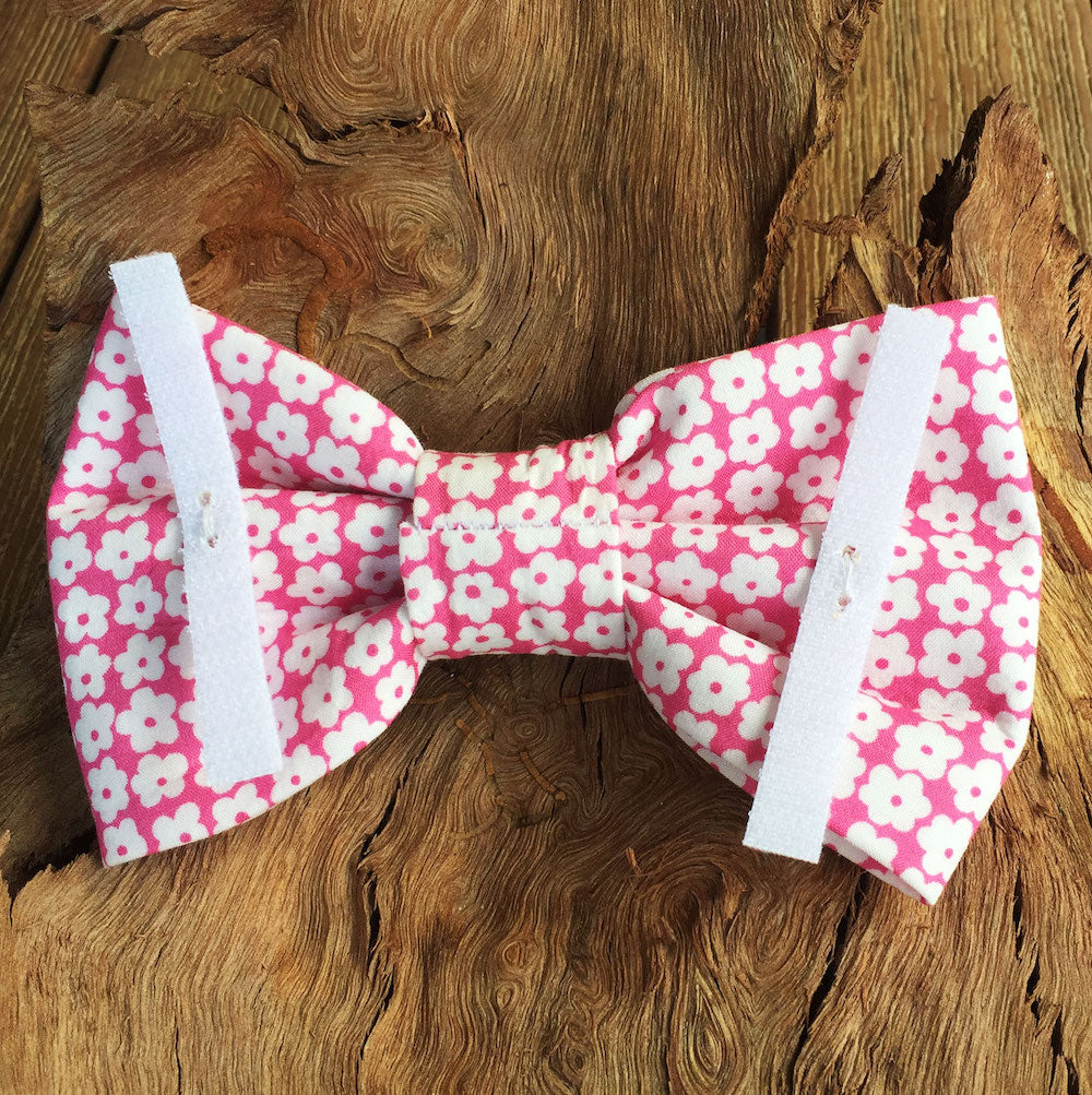 "Handmade Dog Bow Tie, ""Pink with White Flowers"""