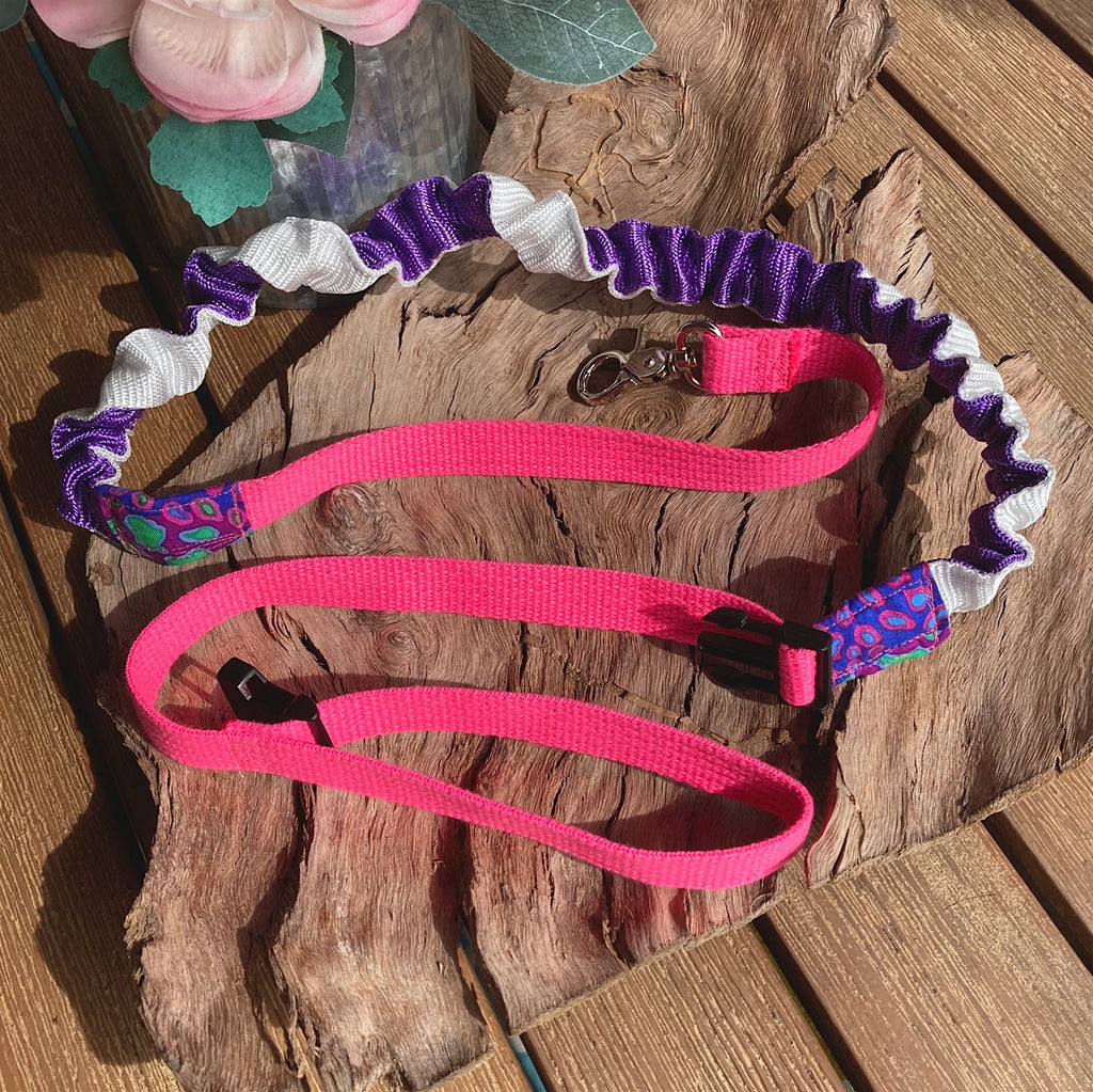 20mm Pink/Purple Stretchy Bungee Dog Leash/Lead ideal for Sniffer Walking -