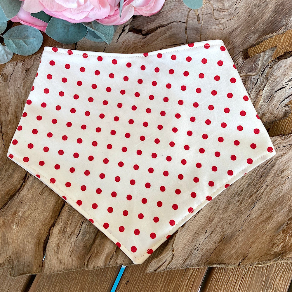 "Handmade Dog Tie On Bandana, ""Red Polka Dot"""