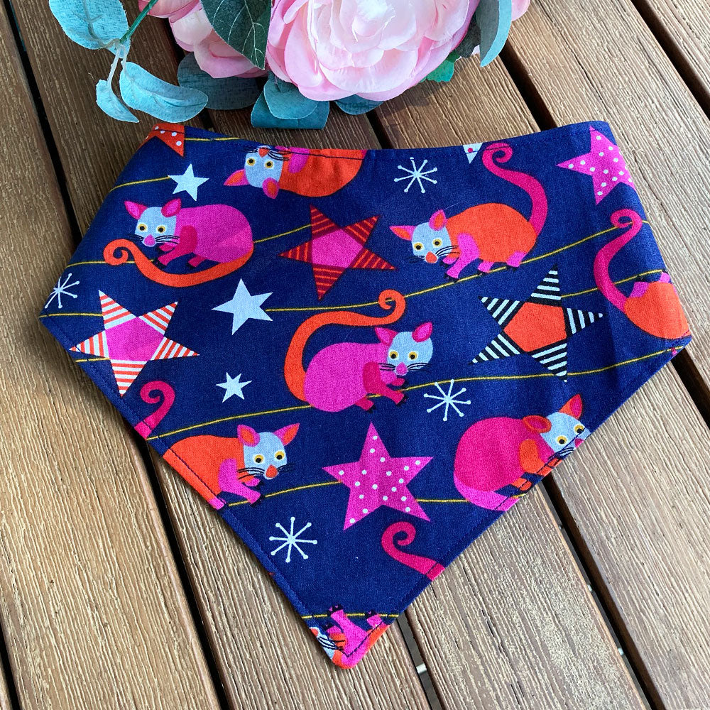 "Xmas Dog Tie On Bandana, Navy Blue/Brights ""Aussie Possums"""