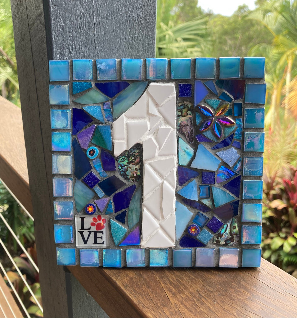 Custom Made Mosaic House Number, 1 Digit - 15cm SQUARE