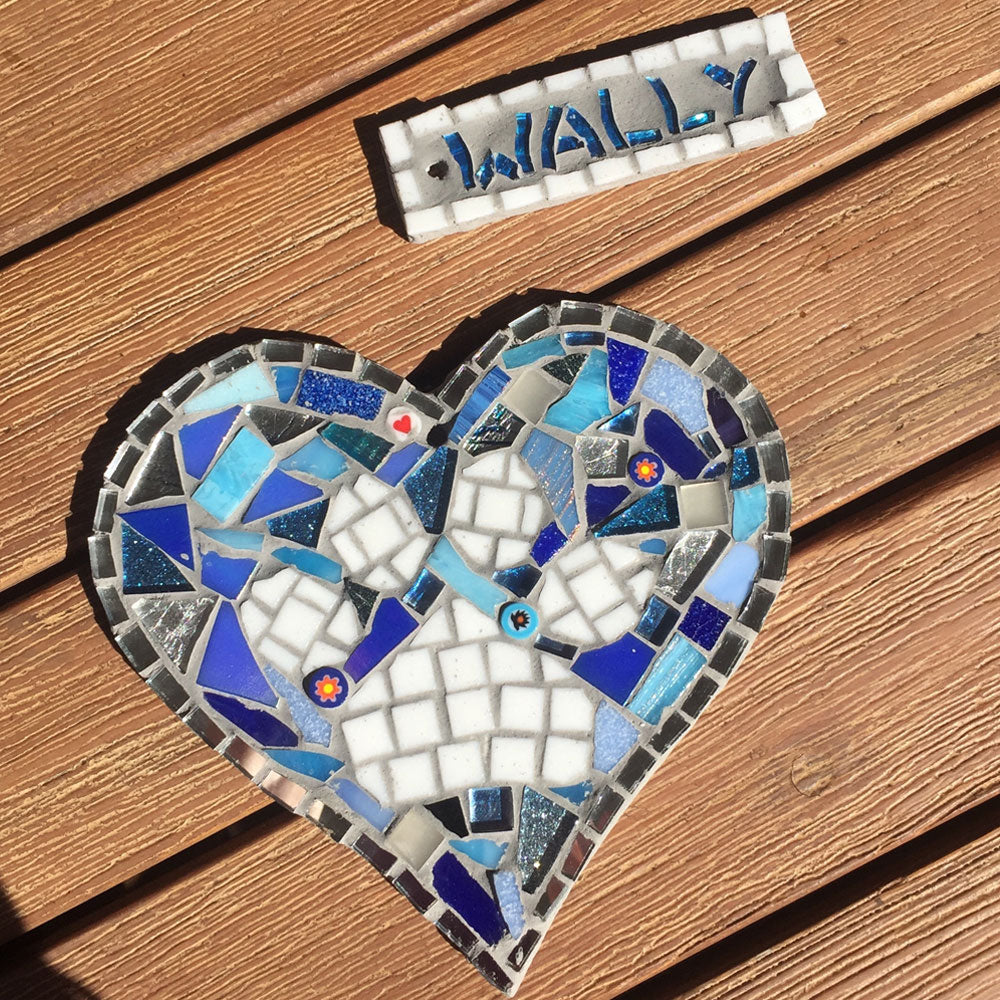 "Paw Print Mosaic Heart with Personalised Name Tag, ""Blues"""