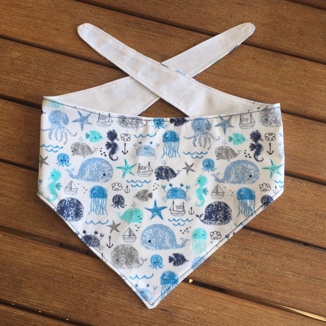 "Handmade Dog Tie On Bandana ""Whales & Fishes"""