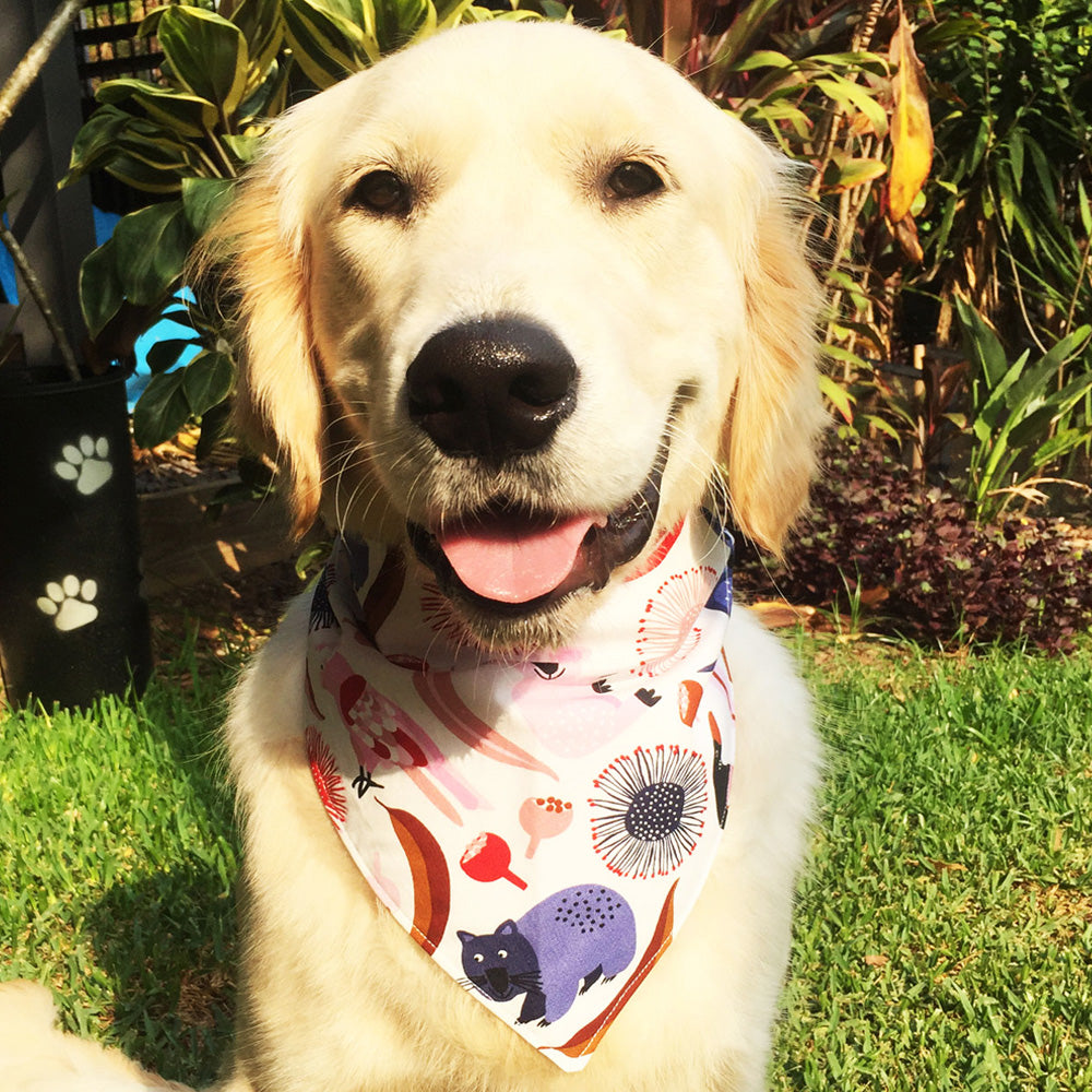 "Xmas Dog Tie On Bandana, White ""Native Wildlife"""