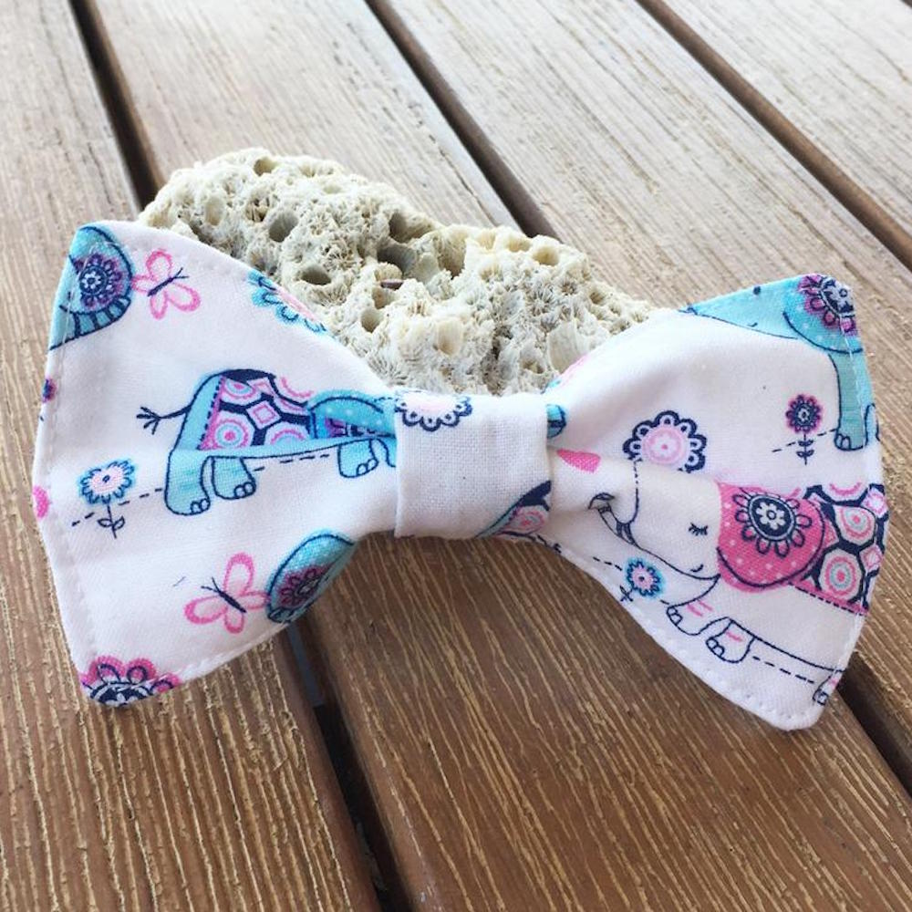 "Handmade Dog Bow Tie, ""White Elephants"""