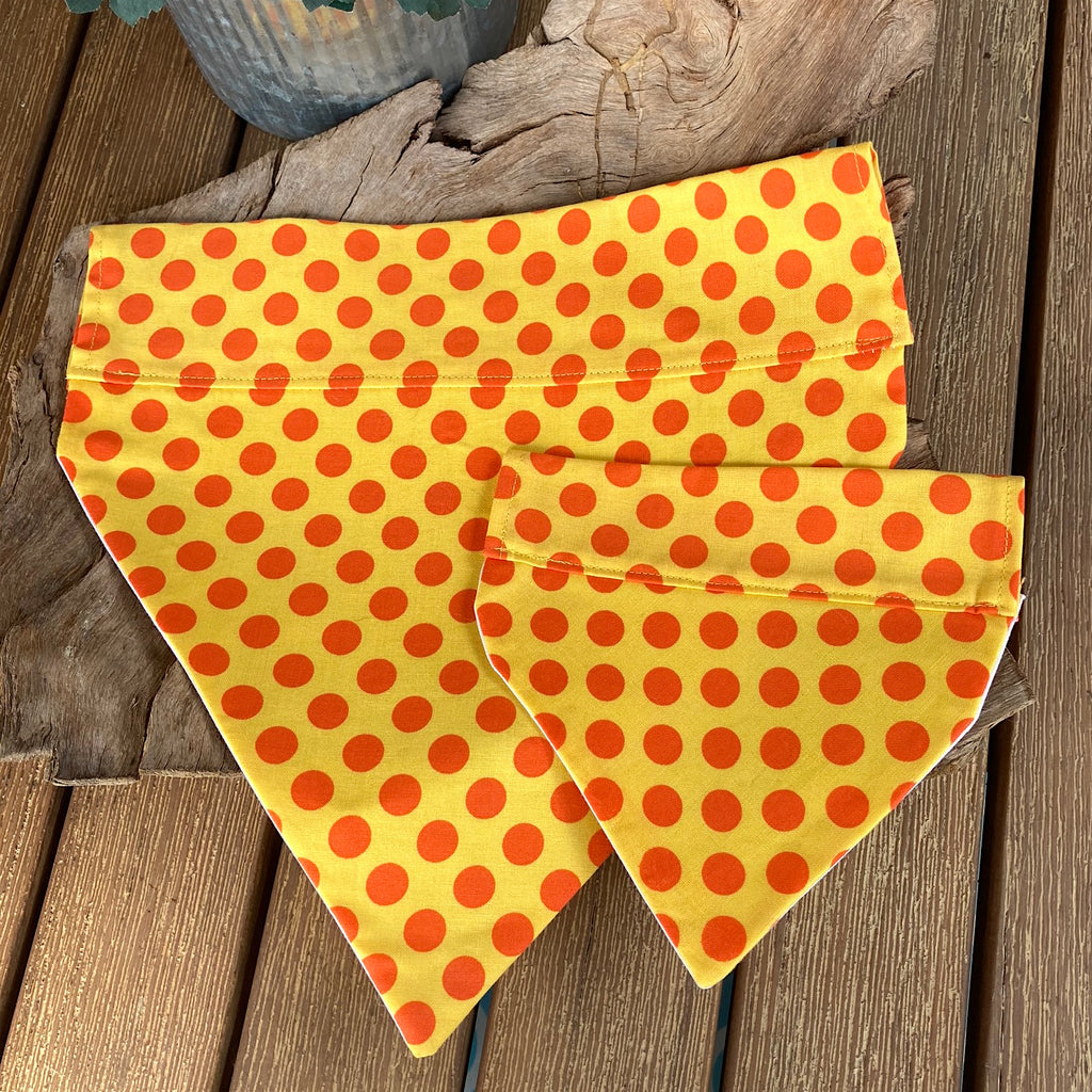Over the Collar Handmade Dog Bandana - Yellow/Orange Dotty