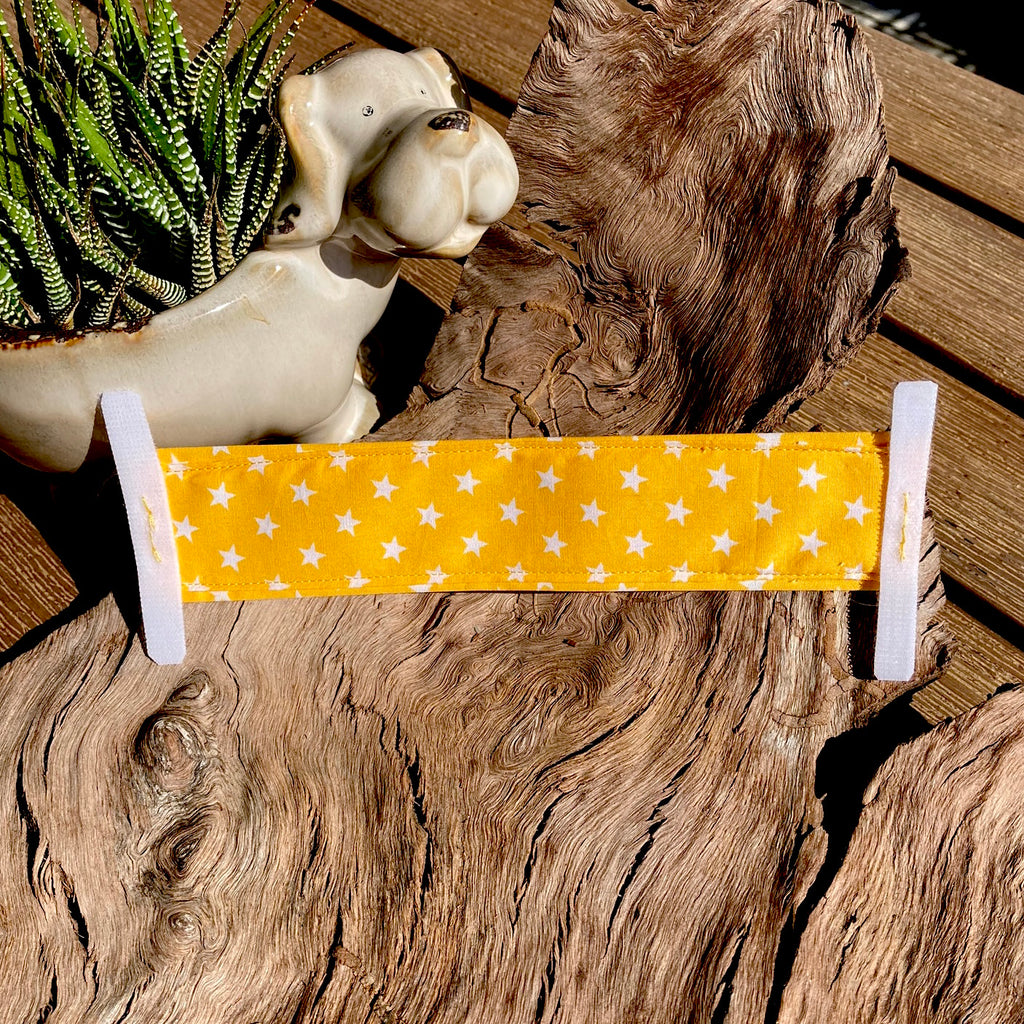 """NERVOUS DOG Lead/Collar Strap"" - Yellow/White Stars"