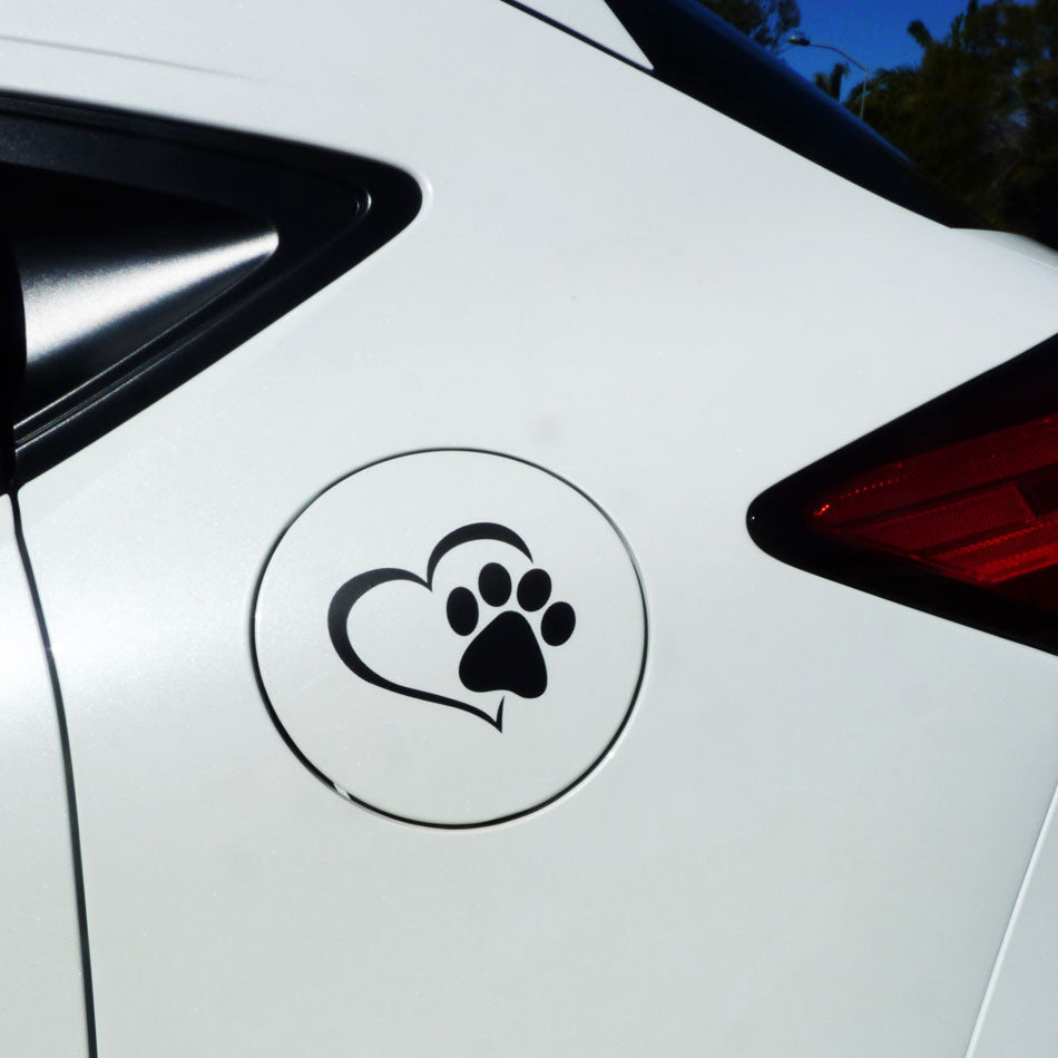 Paw in Heart Car Sticker for Dog Lovers - Black