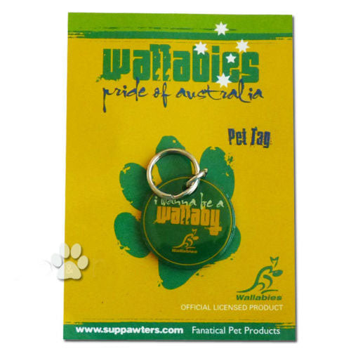 "ARU Wallabies Green ""I Wanna Be a Wallaby"" Engraveable Dog Pet Tag / Disc"