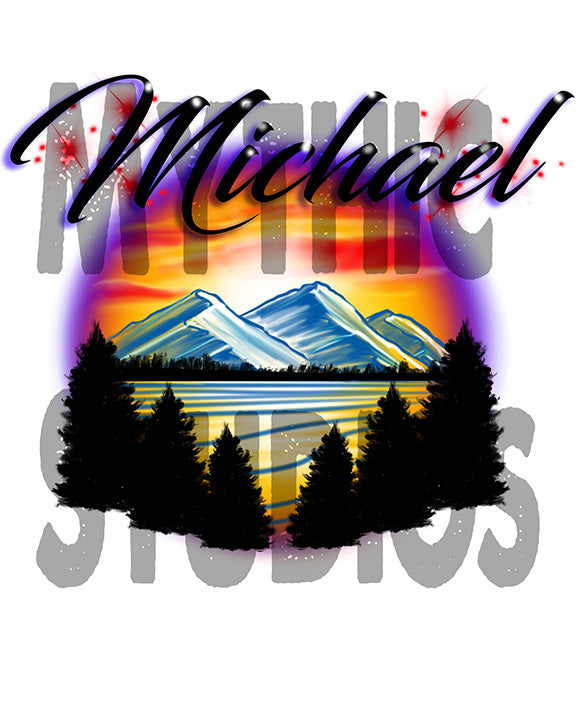 Personalized Airbrush Mountain Landscape License Plate Tag