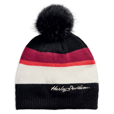 Harley-Davidson Striped Pom Women's Knit Hat