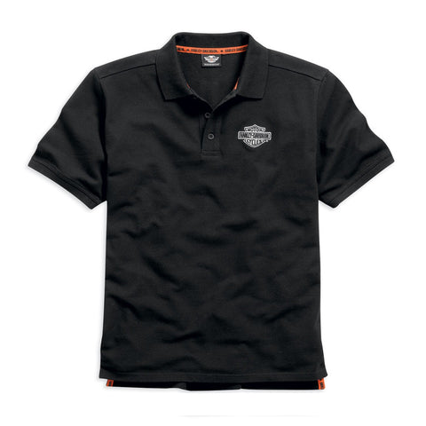 Harley-Davidson Black Knit Men's Short Sleeve Polo Shirt