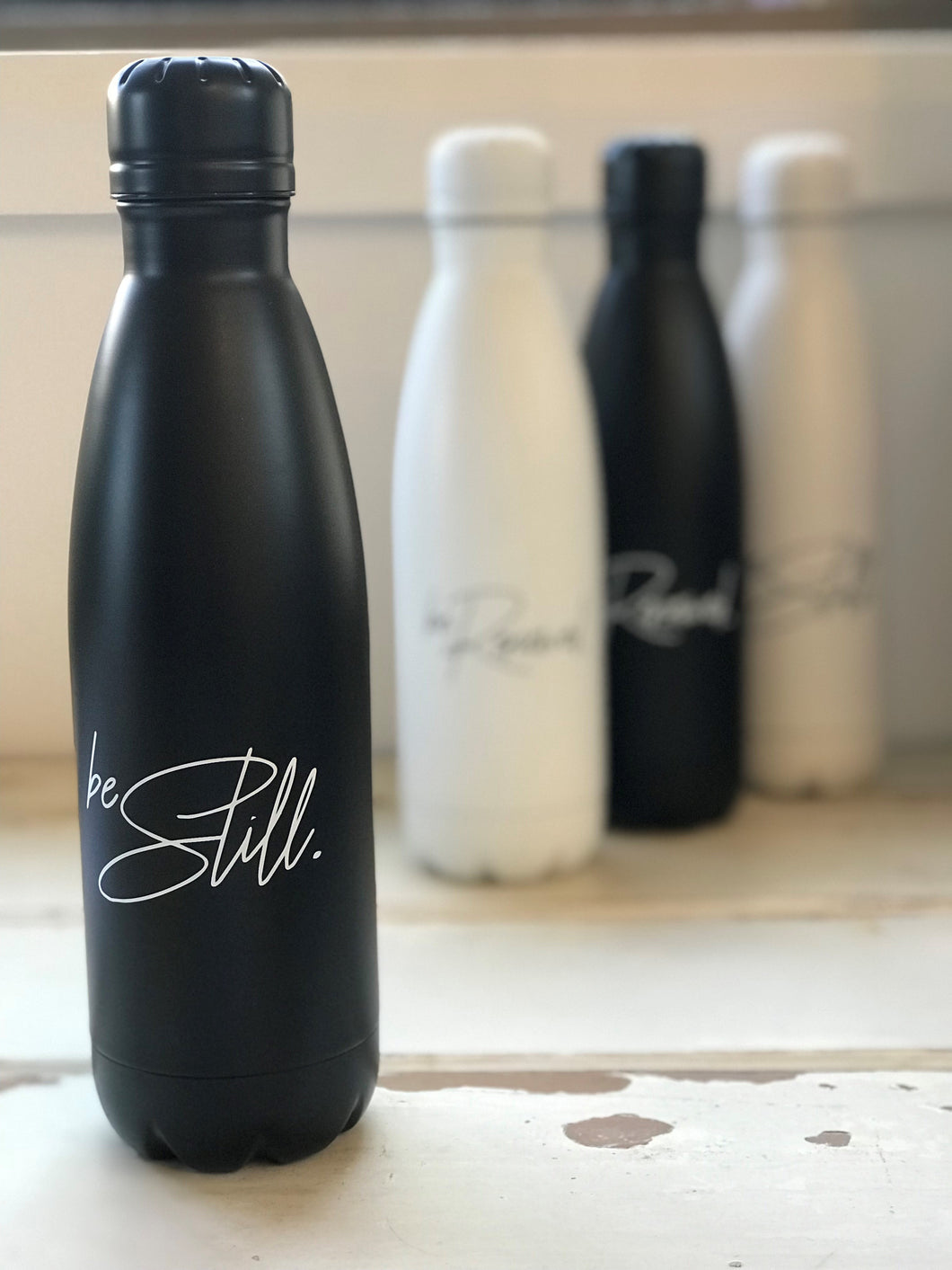 'BE STILL' Water Bottle - BLACK