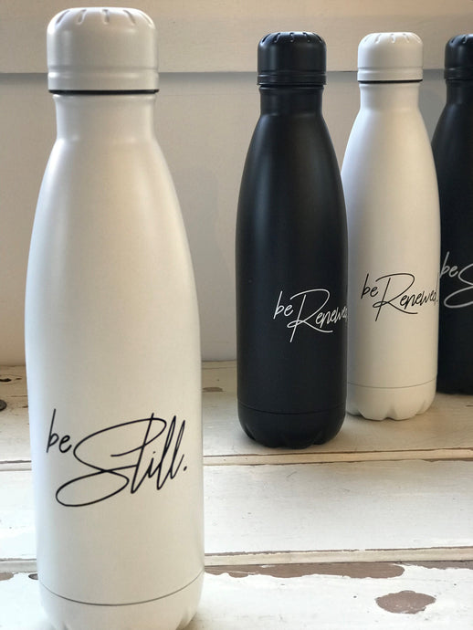 'BE STILL' Water Bottle - WHITE