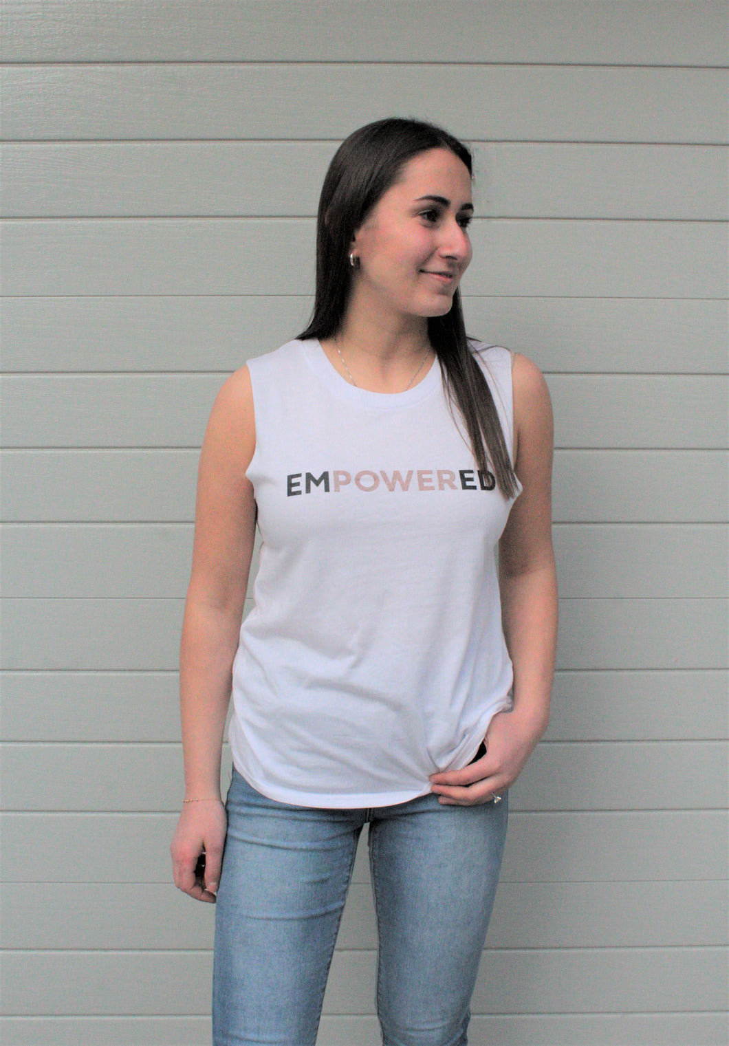 'EMPOWERED' White Tank Top
