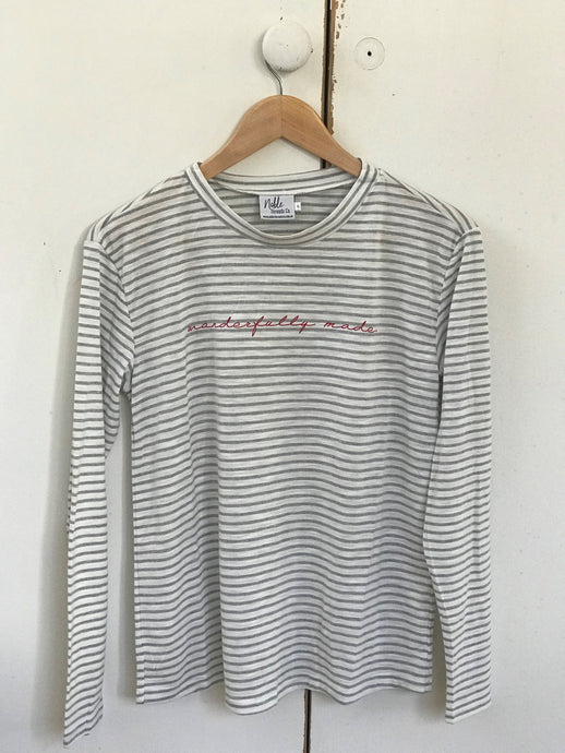 Grey Striped 'Wonderfully Made' Long Sleeve