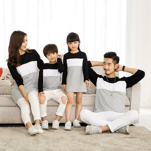 Family Look Mother Daughter Dress 2018 Family Clothing Father Son T-Shirt Cotton Patchwork Striped Family Matching Outfits