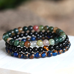 Natural Black Stone Beads Bracelet Men Hematite Beaded Bracelets