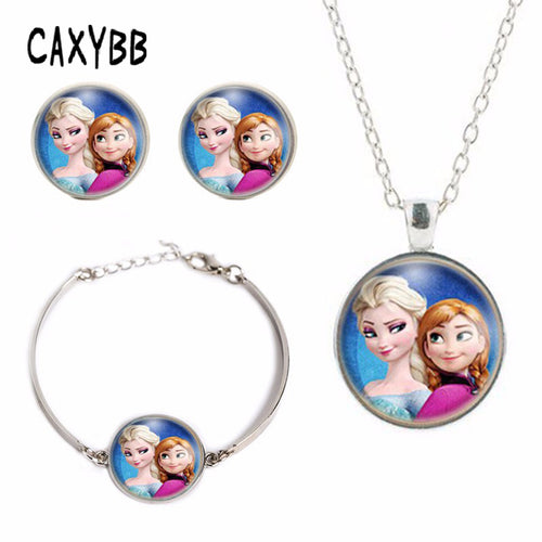 Anna Elsa girls crystal film pendant Bracelet summer Jewelry necklace style Best Selling FREE DELIVERY