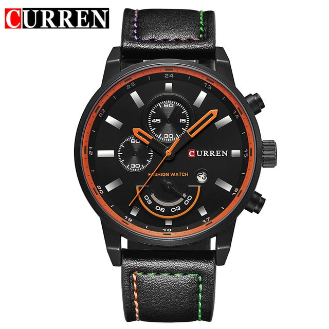 Men's Quartz Leather Water Resistant Wristwatch