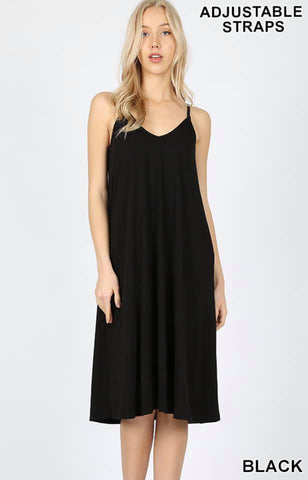 Black Spaghetti Strap Tshirt Dress