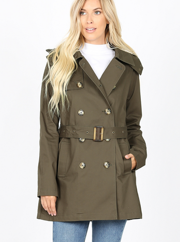 Olive Double Breasted Trench Coat
