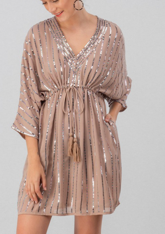 Blush Sequin Baby Doll Dress