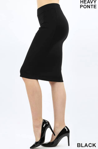Black Heavy Ponte Skirt