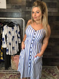 Blue Stripped Button Dress