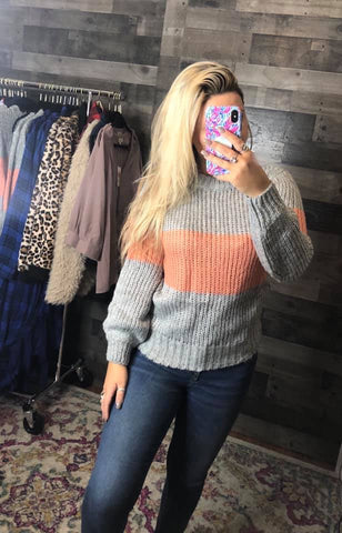 Colorblock Peach Sweater