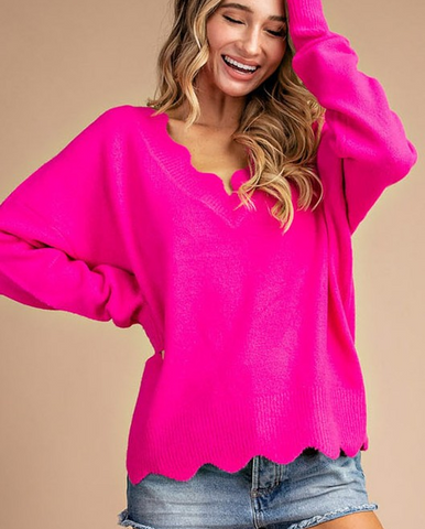 Hot Pink Scallop Sweater